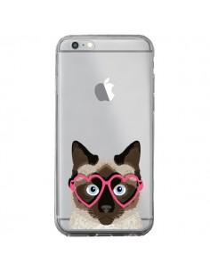Coque Chat Marron Lunettes Coeurs Transparente pour iPhone 6 Plus et 6S Plus - Pet Friendly