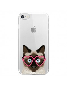 Coque iPhone 7 et 8 Chat Marron Lunettes Coeurs Transparente - Pet Friendly