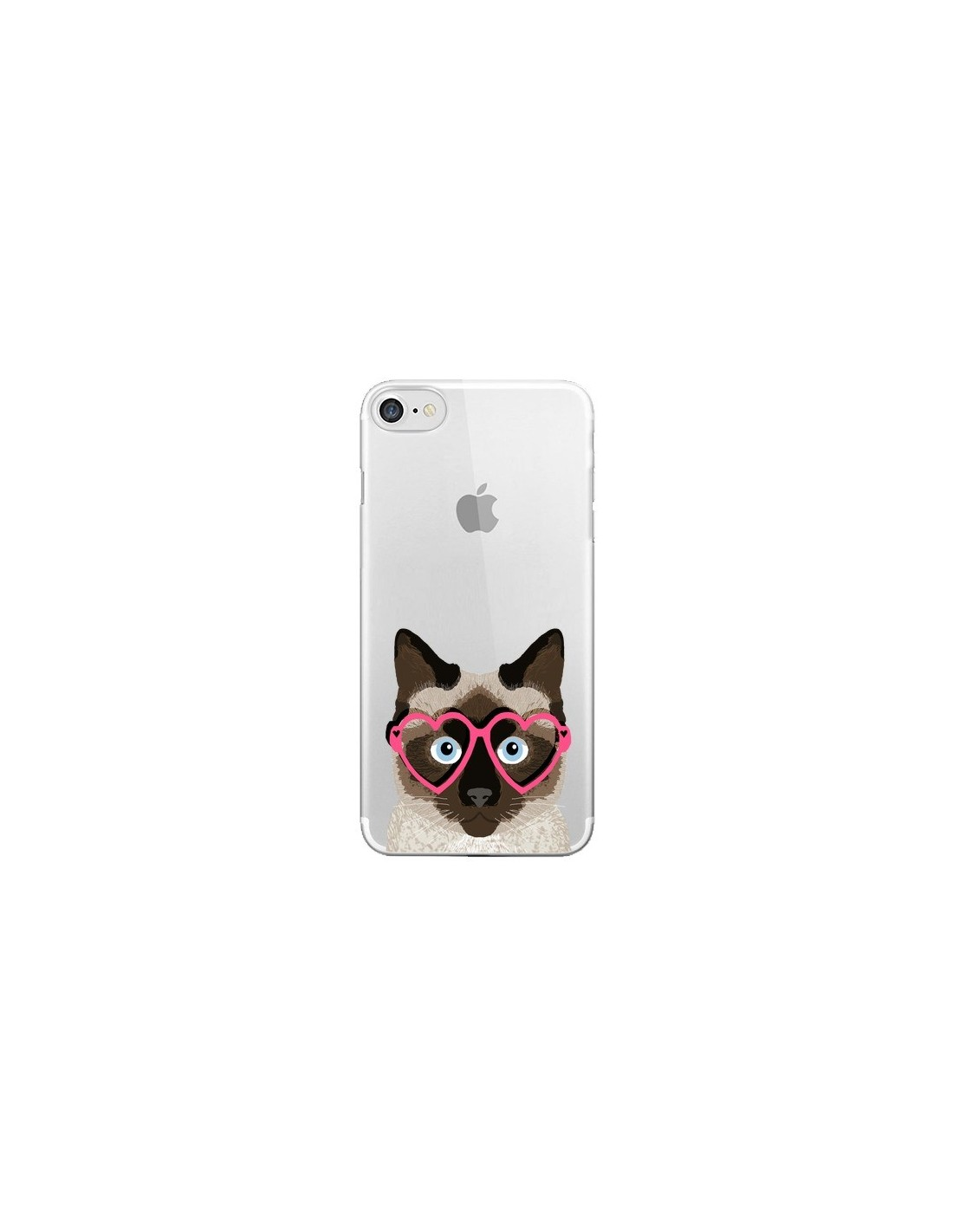 coque chat marron lunettes coeurs transparente pour iphone 7 et 8 pet friendly. Black Bedroom Furniture Sets. Home Design Ideas