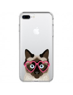 Coque Chat Marron Lunettes Coeurs Transparente pour iPhone 7 Plus - Pet Friendly