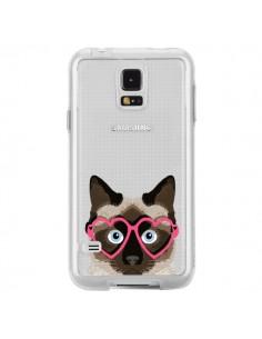 Coque Chat Marron Lunettes Coeurs Transparente pour Samsung Galaxy S5 - Pet Friendly