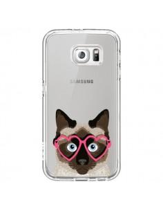 Coque Chat Marron Lunettes Coeurs Transparente pour Samsung Galaxy S6 - Pet Friendly