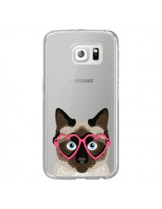 Coque Chat Marron Lunettes Coeurs Transparente pour Samsung Galaxy S6 Edge - Pet Friendly