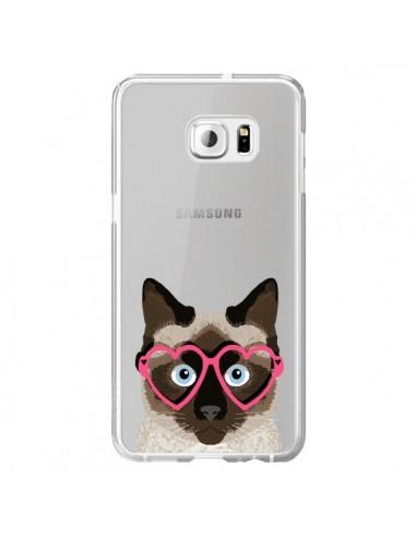 Coque Chat Marron Lunettes Coeurs Transparente pour Samsung Galaxy S6 Edge Plus - Pet Friendly