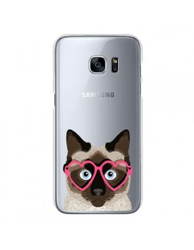 Coque Chat Marron Lunettes Coeurs Transparente pour Samsung Galaxy S7 - Pet Friendly