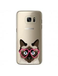 Coque Chat Marron Lunettes Coeurs Transparente pour Samsung Galaxy S7 Edge - Pet Friendly