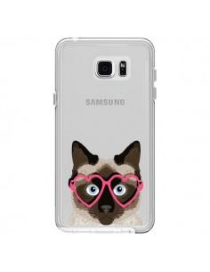 Coque Chat Marron Lunettes Coeurs Transparente pour Samsung Galaxy Note 5 - Pet Friendly