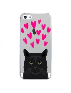 Coque iPhone 5/5S et SE Chat Noir Coeurs Transparente - Pet Friendly