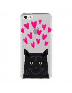 Coque iPhone 5C Chat Noir Coeurs Transparente - Pet Friendly