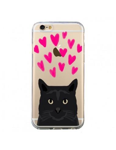 Coque iPhone 6 et 6S Chat Noir Coeurs Transparente - Pet Friendly
