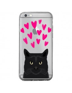 Coque iPhone 6 Plus et 6S Plus Chat Noir Coeurs Transparente - Pet Friendly