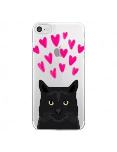 Coque Chat Noir Coeurs Transparente pour iPhone 7 - Pet Friendly