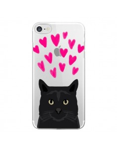 Coque iPhone 7 et 8 Chat Noir Coeurs Transparente - Pet Friendly