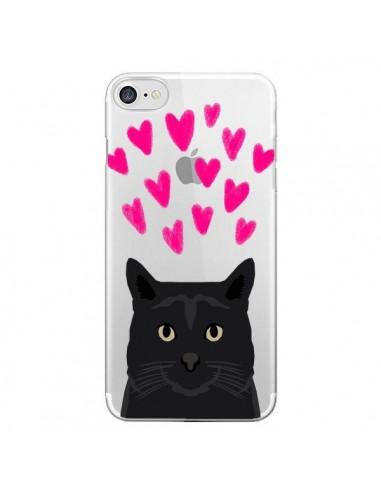 Coque Chat Noir Coeurs Transparente pour iPhone 7 et 8 - Pet Friendly