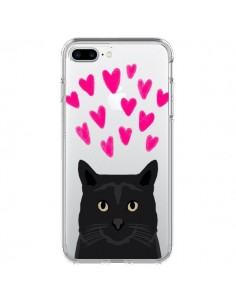 Coque iPhone 7 Plus et 8 Plus Chat Noir Coeurs Transparente - Pet Friendly