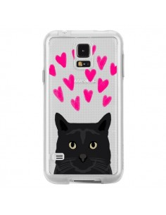 Coque Chat Noir Coeurs Transparente pour Samsung Galaxy S5 - Pet Friendly