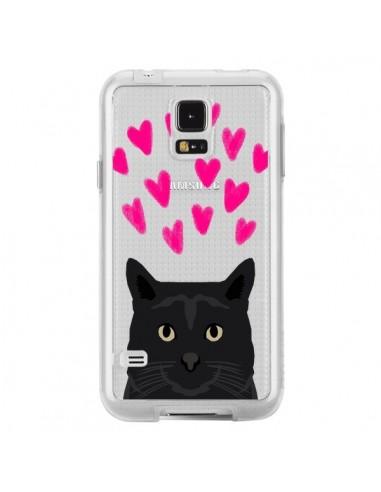 Coque Chat Noir Coeurs Transparente pour Samsung Galaxy S5 - Pet Friendly