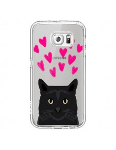 Coque Chat Noir Coeurs Transparente pour Samsung Galaxy S6 - Pet Friendly