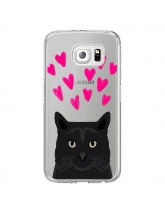 Coque Chat Noir Coeurs Transparente pour Samsung Galaxy S6 Edge - Pet Friendly