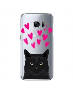 Coque Chat Noir Coeurs Transparente pour Samsung Galaxy S7 - Pet Friendly
