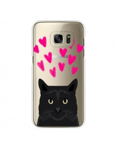 Coque Chat Noir Coeurs Transparente pour Samsung Galaxy S7 Edge - Pet Friendly