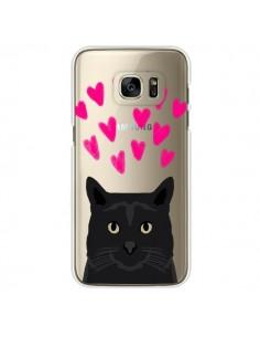 Coque Chat Noir Coeurs Transparente pour Samsung Galaxy S7 Edge - Pet Friendly