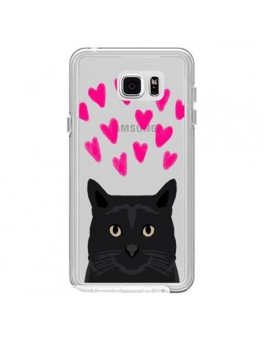 Coque Chat Noir Coeurs Transparente pour Samsung Galaxy Note 5 - Pet Friendly