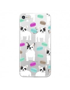 Coque Chiens Bulldog Français Macarons Transparente pour iPhone 7 - Pet Friendly
