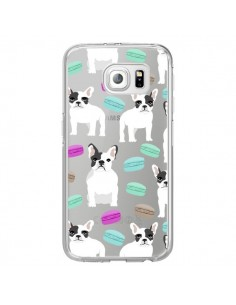 Coque Chiens Bulldog Français Macarons Transparente pour Samsung Galaxy S6 Edge - Pet Friendly