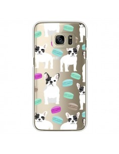 Coque Chiens Bulldog Français Macarons Transparente pour Samsung Galaxy S7 Edge - Pet Friendly