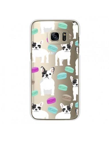 Coque Chiens Bulldog Français Macarons Transparente pour Samsung Galaxy S7 Edge - Pet Friendly