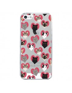 Coque iPhone 5/5S et SE Chats Coeurs Transparente - Pet Friendly