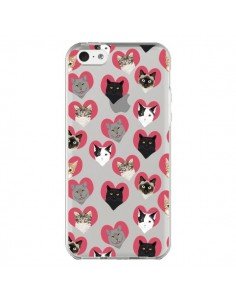 Coque Chats Coeurs Transparente pour iPhone 5C - Pet Friendly