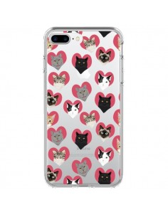 Coque Chats Coeurs Transparente pour iPhone 7 Plus - Pet Friendly