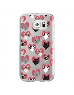 Coque Chats Coeurs Transparente pour Samsung Galaxy S6 Edge - Pet Friendly