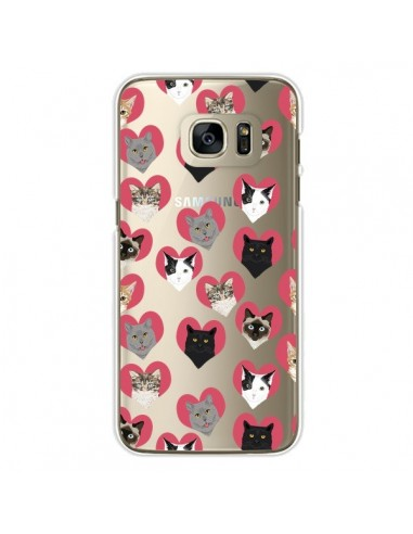 Coque Chats Coeurs Transparente pour Samsung Galaxy S7 Edge - Pet Friendly