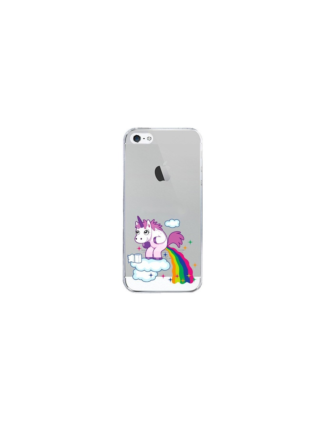 coque licorne caca arc en ciel transparente pour iphone 5 5s et se nico. Black Bedroom Furniture Sets. Home Design Ideas