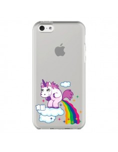Coque iPhone 5C Licorne Caca Arc en Ciel Transparente - Nico