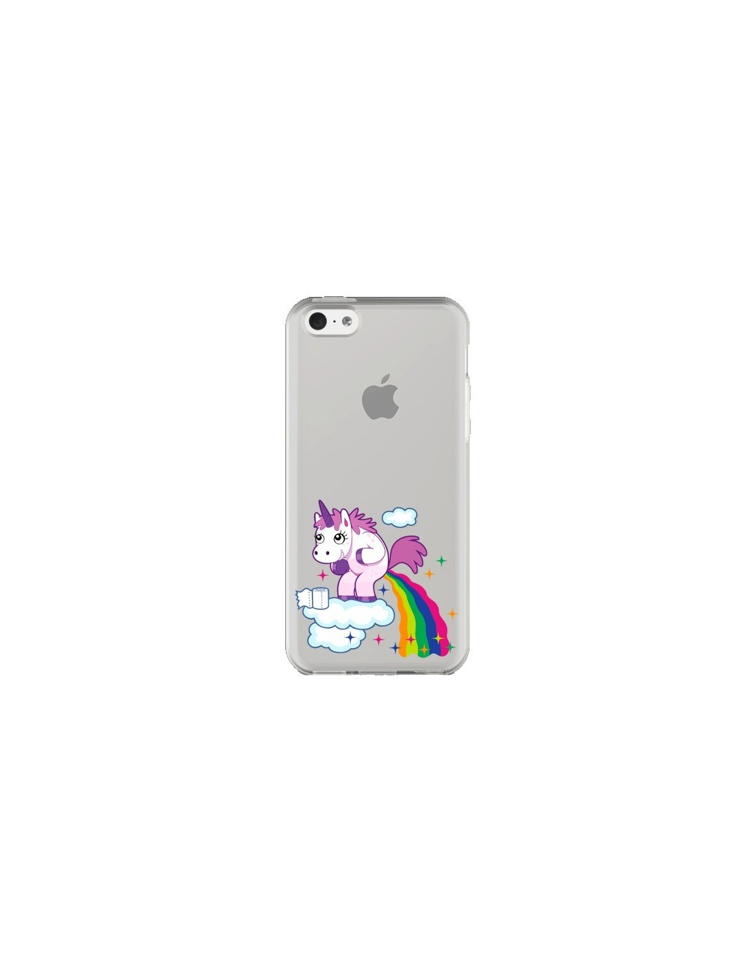 coque licorne caca arc en ciel transparente pour iphone 5c nico. Black Bedroom Furniture Sets. Home Design Ideas