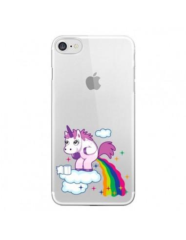 coque iphone 7 8 se 2020 licorne caca arc en ciel transparente nico
