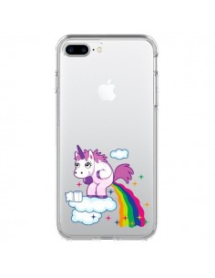 Coque iPhone 7 Plus et 8 Plus Licorne Caca Arc en Ciel Transparente - Nico