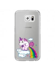 Coque Licorne Caca Arc en Ciel Transparente pour Samsung Galaxy S6 Edge - Nico
