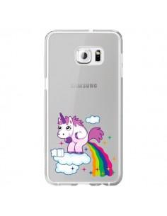 Coque Licorne Caca Arc en Ciel Transparente pour Samsung Galaxy S6 Edge Plus - Nico