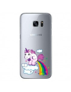 Coque Licorne Caca Arc en Ciel Transparente pour Samsung Galaxy S7 - Nico