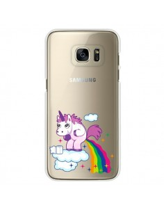 Coque Licorne Caca Arc en Ciel Transparente pour Samsung Galaxy S7 Edge - Nico