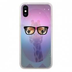 Coque Girafe Geek à Lunettes pour iPhone X - Aurelie Scour