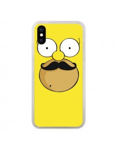 Coque iPhone X et XS Homer Movember Moustache Simpsons - Bertrand Carriere