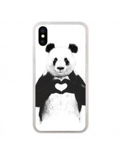 Coque iPhone X et XS Panda Amour All you need is love - Balazs Solti
