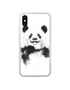 Coque iPhone X et XS Funny Panda Moustache Movember - Balazs Solti