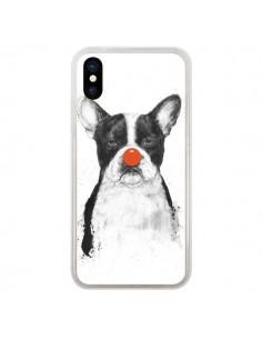 Coque iPhone X et XS Clown Bulldog Chien Dog - Balazs Solti